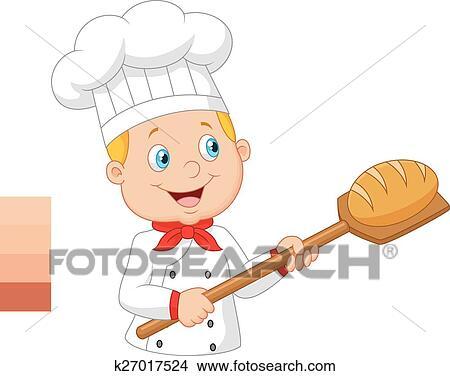 Dessin Boulangerie clipart - dessin animé, boulanger, tenue, boulangerie, peler, t