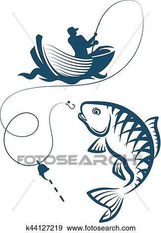 Fisherman Catches A Fish Clip Art K44127219 Fotosearch