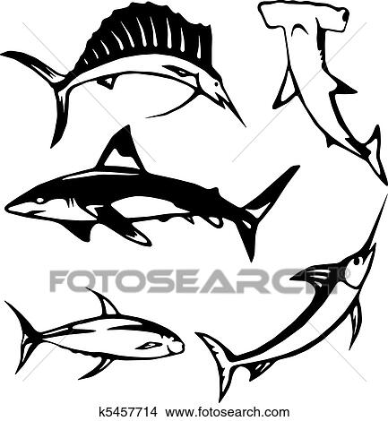 Clipart Of Five Large Ocean Fish K5457714