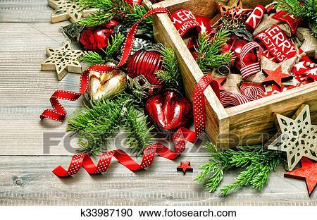 Kerstdecoraties Met Rood : Stock fotografie kerst decoraties rood stars. ouderwetse