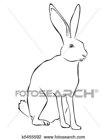 Tracing Of A White Rabbit Clipart