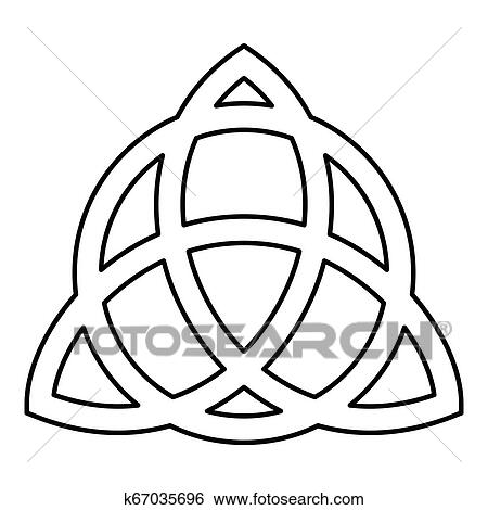 Trikvetr Knot With Circle Power Of Three Viking Symbol Tribal For Tattoo Trinity Knot Icon Black Color Outline Vector Illustration Flat Style Image Clip Art K67035696 Fotosearch