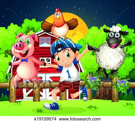A boy playing with the farm animals Clipart