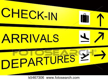 Airport Sign Arrivals Departure Check In