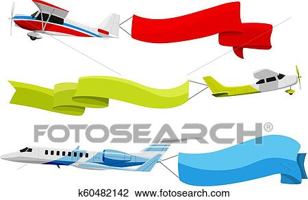 Attached Banners To Flying Airplanes Vector Illustration In