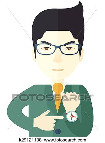 clip art of chinese man is angry pointing his watch k29121138 rh fotosearch com pointing clipart black and white pointing clipart