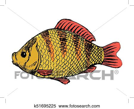 clipart of crucian freshwater fish k51695225 search clip art rh fotosearch com Fishing Pole Clip Art Fishing Pole Clip Art