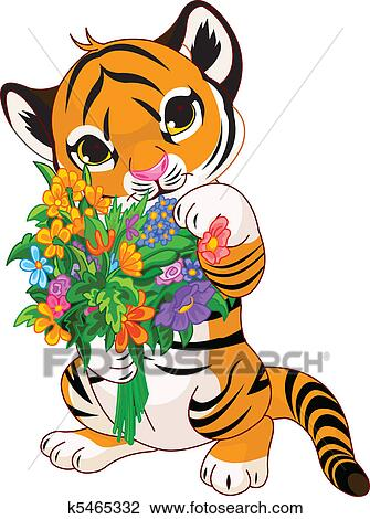 clipart of cute tiger cub with flowers k5465332 search clip art rh fotosearch com  tiger cub clipart