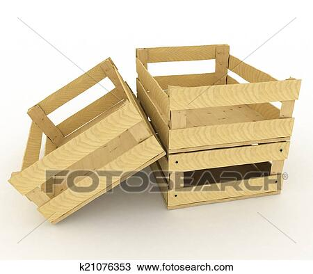 Drawing Of Empty Wooden Boxes Containers For Fruits And Vegetables