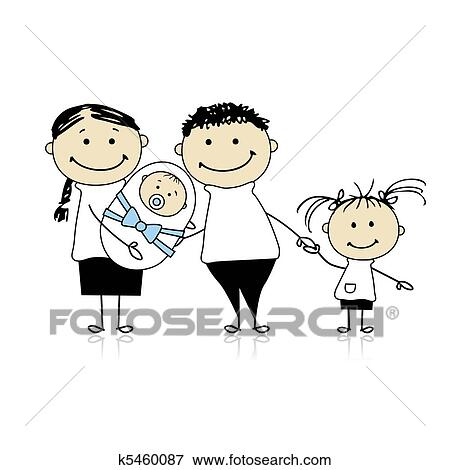 Clip Art   Happy Parents With Children, Newborn Baby In Hands. Fotosearch    Search