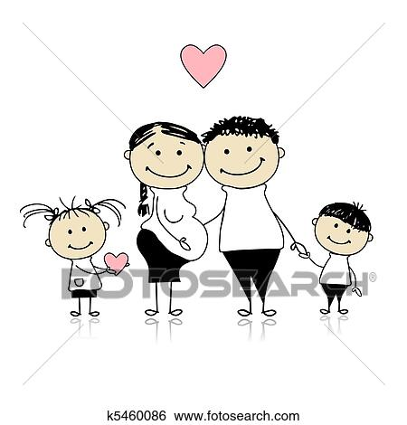 Clip Art   Happy Parents With Children Waiting For Newbaby, Pregnancy.  Fotosearch   Search