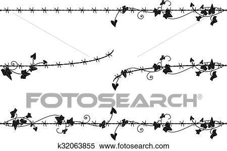 Clipart of ivy border with barbed wire k32063855 - Search Clip Art ...