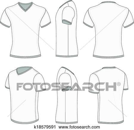 new concept 96a3e 8a945 Männer, weiß, ärmelpuff, t-shirt, v-neck. Clipart