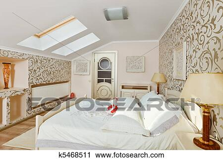 Stock fotografie moderne kunst deco stijl slaapkamer binnenste