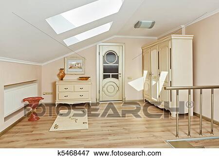 Moderne kunst deco stijl woonstudio kamer binnenste in