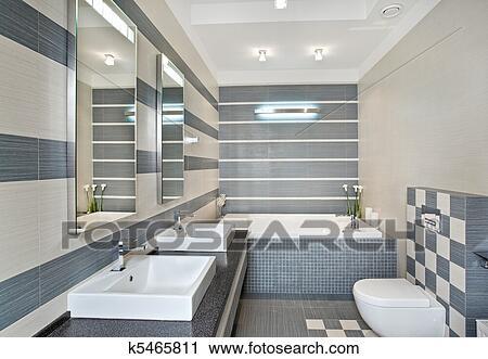 Modernes, badezimmer, in, blau, und, grau, töne, mit, mosaik ...