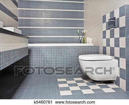 Modernes, Badezimmer, In, Blau, Und, Grau, Töne, Mit, Toilette, Und, Mosaik