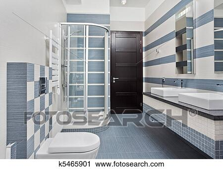 Archivio fotografico moderno bagno in blu e grigio toni
