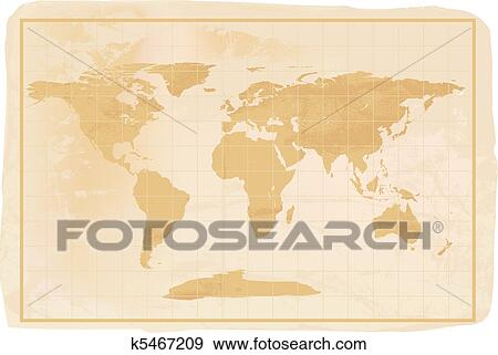 World Map Old Style.Stock Illustration Of Old Style Anitioque World Map K5467209