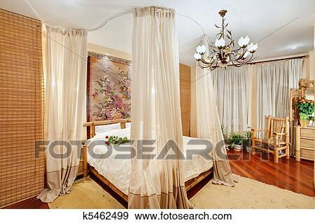 Stile medievale, camera letto, con, coprire baldacchino letto, su ...