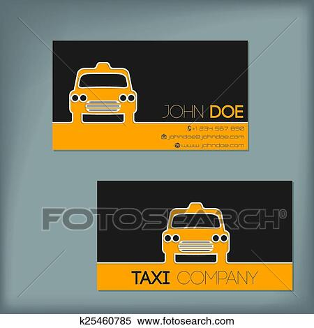 Clipart Of Taxi Business Card With Cab Silhouette K25460785 Search