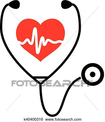 Clip Art Of Vector Symbol Of Medical Exam Of Heart Health And