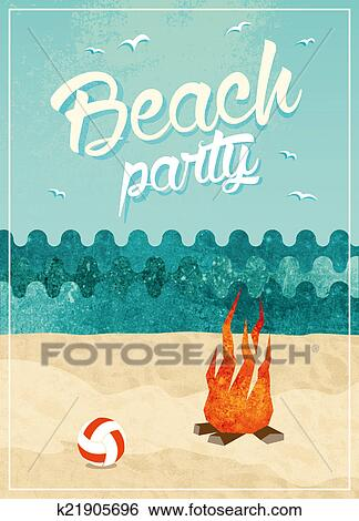 Stock Illustration Of Vintage Beach Party Poster Design K21905696