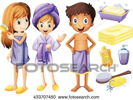 Children And Bathroom Objects Clipart K33707450 Fotosearch
