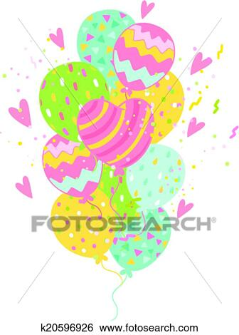 Happy Birthday Card Background With Balloons Clip Art