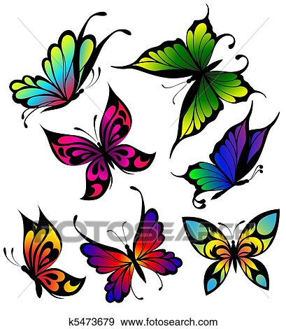 clipart ensemble de couleur papillons de tatouage k5473679 recherchez des cliparts des. Black Bedroom Furniture Sets. Home Design Ideas
