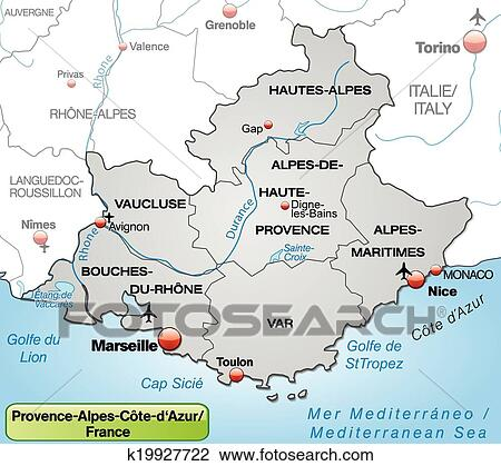Clipart of Map of Provence-Alpes-Cote d Azur k19927722 - Search Clip ...