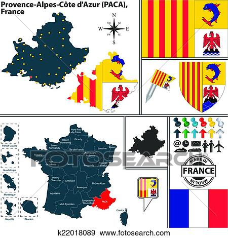 Provence Map Of France.Clip Art Of Map Of Provence Alpes Cote Dazur France K22018089