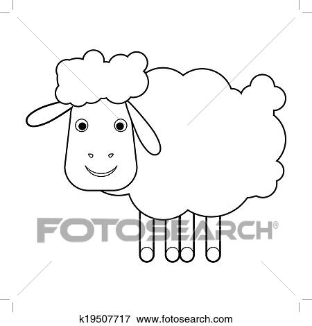Clip Art of Sheep Outline k19507717 - Search Clipart ...