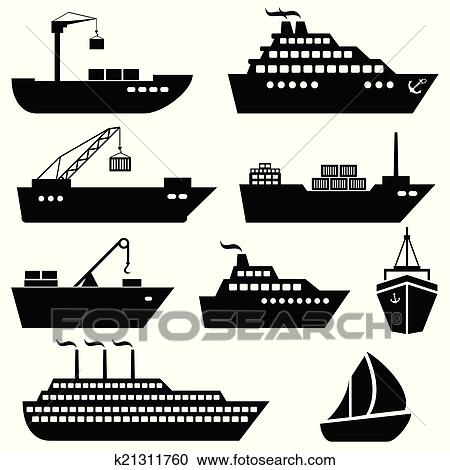 Clipart of Ships, boats, cargo, logistics and shipping ...