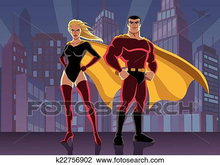 clipart of superhero couple 2 k22756902 search clip art