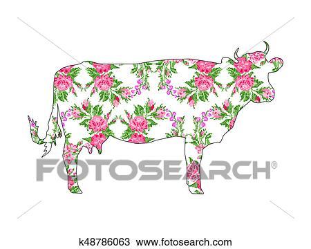 Dessin Vache A Couleur Cercle Bouquet De Flowers K48786063