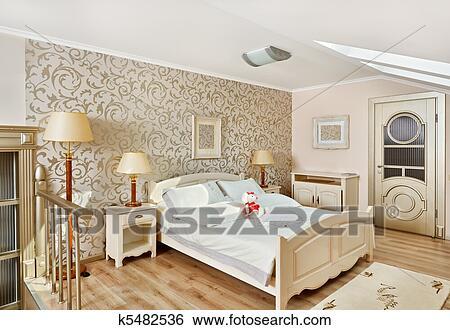 Art moderne, deco, style, chambre à coucher, intérieur, dans, lumière,  beige, couleurs Banque de Photographies