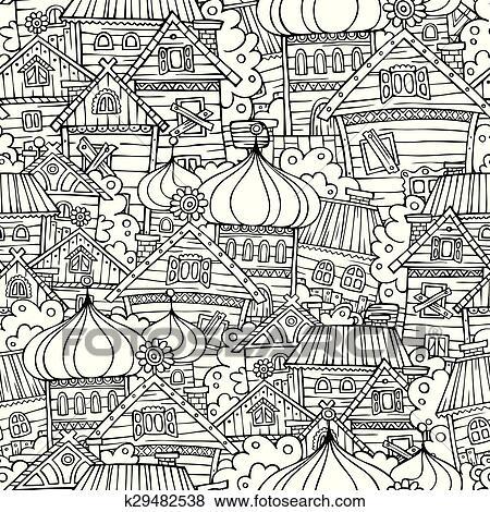 Clip Art Of Cartoon Fairy Tale Drawing Russian Village Seamless