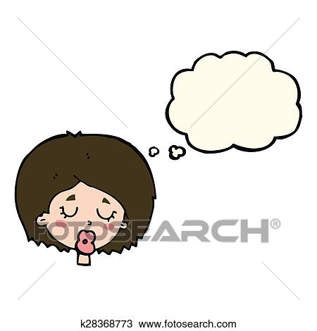 Cartoon Woman With Eyes Closed With Thought Bubble Drawing