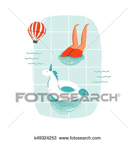 clipart of hand drawn vector abstract cartoon summer time fun