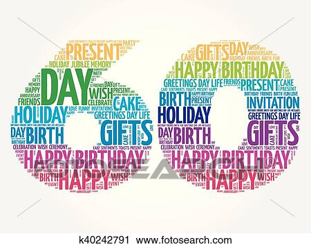 Clipart Of Happy 60th Birthday Word Cloud K40242791