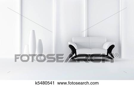 Divano Nero Moderno : Nero bianco moderno stile divano clipart k5480541