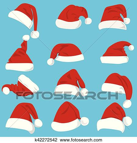 Clipart - Set of red Santa Claus hats isolated on white background.  Fotosearch - Search fc6acb6d8e4c