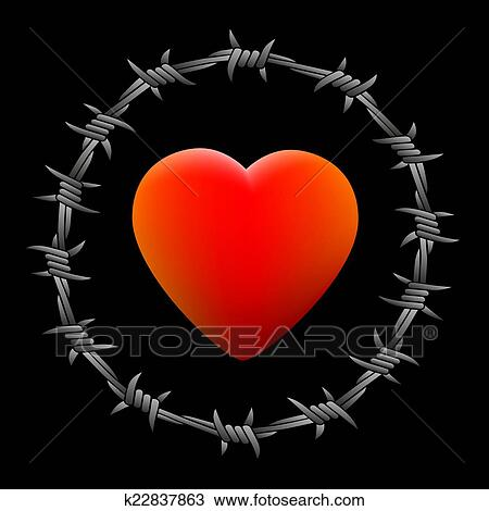 Clipart of Barbed Wire Heart Black k22837863 - Search Clip Art ...