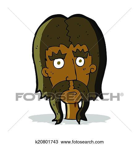 Cartone animato uomo con lungo baffi clipart k