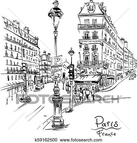 Cozy Paris Street France Clipart K59162500 Fotosearch