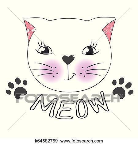 Cute Cartoon Cat Face And Inscription Meow Clip Art K64582759 Fotosearch