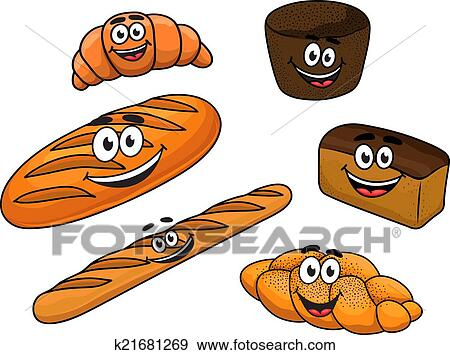 Clipart Dessin Animé Pain Boulangeries K21681269 Recherchez