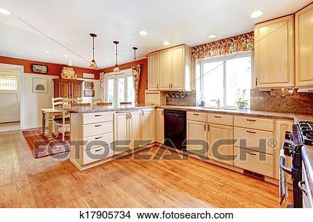Stock foto eenvoudige warme kleuren keuken kamer met een