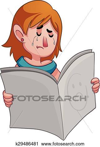 Clipart Femme Triste Tenir Journal K29486481 Recherchez Des